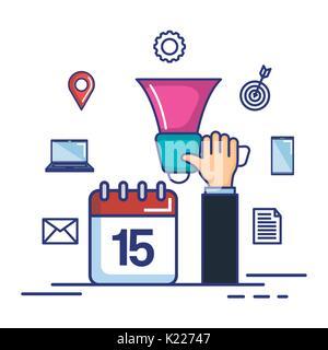 hand holding megaphone calendar marketing symbol - Stock Photo