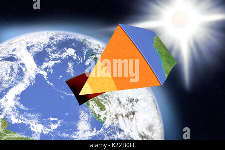 The Earth is formed of three concentric layers: the core, the mantle and the crust; these are separated by transition - Stock Photo