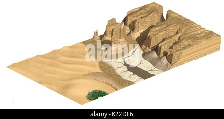 A region, usually characterized by heat, where aridity (less than 4 in of annual rainfall) is such that plant and - Stock Photo