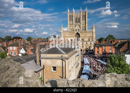 Gothic architecture of Lincoln Cathedral, and surrounding area, viewed from Lincoln Castle walls, City of Lincoln, - Stock Photo
