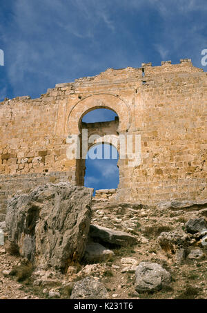 Spain. Castle of Gormaz. Built by the Muslims in the 9th century. View of the main gate with horsehoe arch. Soria - Stock Photo
