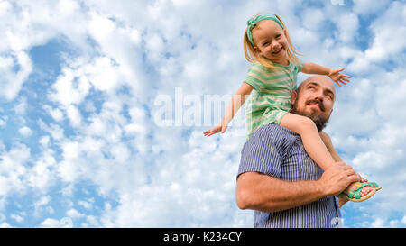 Adorable father daughter portrait, happy family, father's day concept Stock Photo
