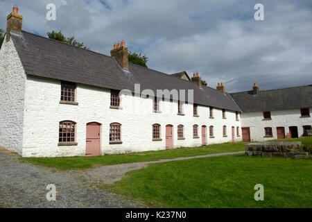 Engine Row a row of workers terrace cottages around Stack Square Blaenavon Ironworks Torfaen Wales cymru UK GB - Stock Photo