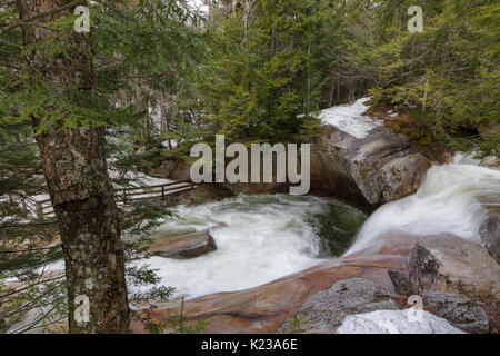 """""""The Basin' viewing area along the Pemigewasset River in Franconia Notch State Park of Lincoln, New Hampshire USA - Stock Photo"""