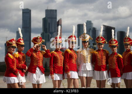 MOSCOW, RUSSIA - AUGUST 27, 2017: Participants in a parade as part of the 2017 Spasskaya Tower international military - Stock Photo