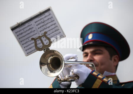 MOSCOW, RUSSIA - AUGUST 27, 2017: A member of the President's Band of the Russian Federation performs at a parade - Stock Photo