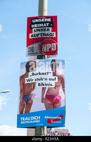 Berlin, Germany. 28th August 2017. Party political posters for far-right neo-Nazi NPD party, National Democratic - Stock Photo