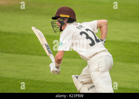 London, UK. 29th Aug, 2017. Ollie Pope batting for Surrey against Middlesex at the Oval on day two of the Specsaver - Stock Photo
