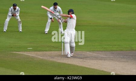 Manchester, UK. 30th Aug, 2017. Ryan McLaren (Lancashire) pulls and is caught by Patel for 21 in the match against - Stock Photo