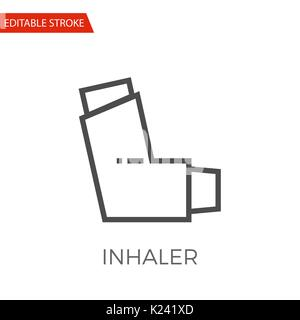 Inhaler Thin Line Vector Icon. Flat Icon Isolated on the White Background. Editable Stroke EPS file. Vector illustration. - Stock Photo