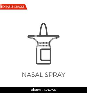 Nasal Spray Thin Line Vector Icon. Flat Icon Isolated on the White Background. Editable Stroke EPS file. Vector - Stock Photo