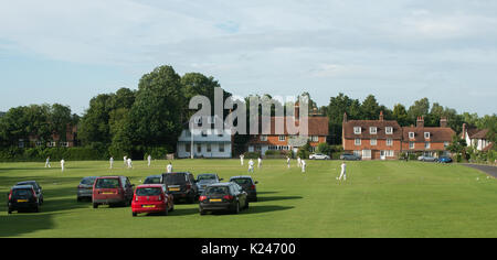 Cricket match at Benenden village in Kent - Stock Photo