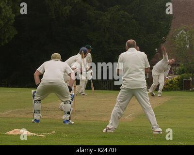 Cricket match at Benenden, Kent - Stock Photo