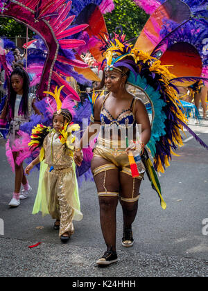 Leeds, UK. 28th August, 2017.  The 50th Leeds West Indian Carnival at Potternewton Park. The carnival was the first - Stock Photo