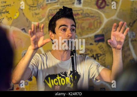 Berlin, Germany. 28th Aug, 2017. Justin Sane of Anti-Flag performs live on stage during the 'American Fall' acoustic - Stock Photo