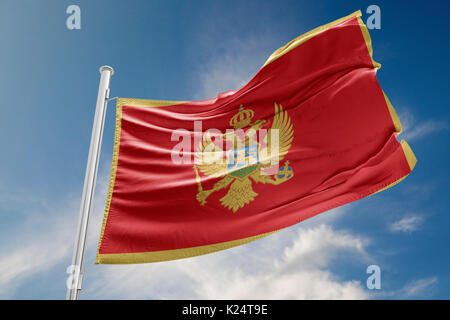 Montenegro flag is waving at a beautiful and peaceful sky in day time while sun is shining. 3D Rendering - Stock Photo