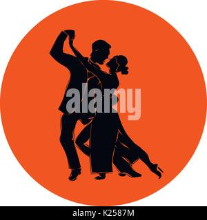 Salsa or argentine tango dancing couple man and woman in vector. International tango day. Vector illustration in - Stock Photo