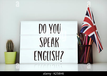 a lightbox with the question do you speak English? written in it, a cactus, a pot of pencils and a flag of the United - Stock Photo