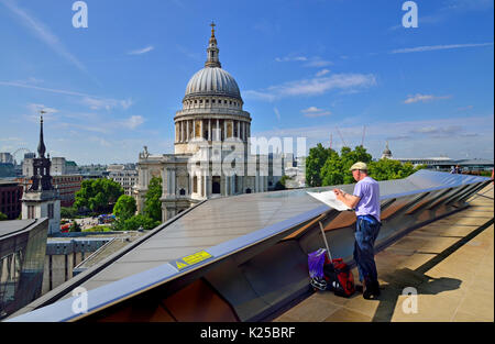 London, England, UK. St Paul's Cathedral seen from the public rooftop terrace of One New Change - artist drawing - Stock Photo