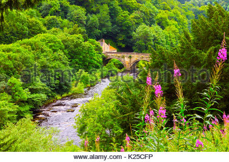 The Green Bridge and River Swale, Richmond, North Yorkshire, UK - Stock Photo