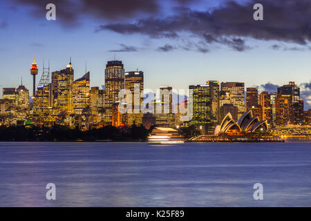Panoramic views of Sydney harbour including Opera house, bridge and CBD, seen from Cremorne point on north shore, - Stock Photo