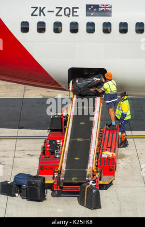 Luggage being unloaded by baggage handlers from passenger airplane at Sydney International Airport, New South Wales, - Stock Photo