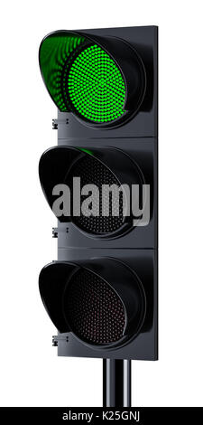 Traffic light with green signal lighting. Isolated on white background. 3d rendering illustration - Stock Photo