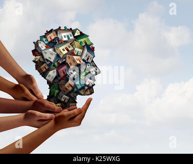 Group Real estate industry agent symbol and home mortgage broker team concept with human hands supporting a group - Stock Photo
