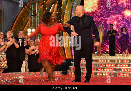 Chizzy Akudolu and Simon Rimmer at the launch of Strictly Come Dancing 2017 at Broadcasting House in London. - Stock Photo