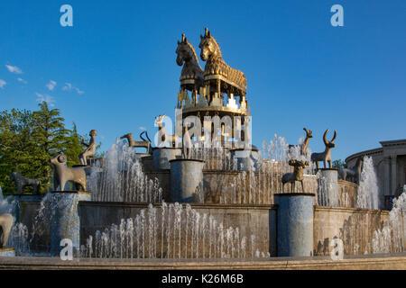 Colchis Fountain and Georgian Drama Theatre Lado Meskhishvili at Davit Aghmasheneblis square,Kutaisi, Georgia - Stock Photo