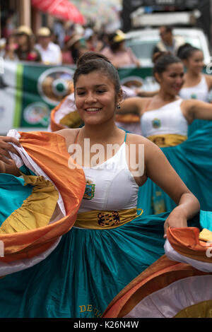 June 17, 2017 Pujili, Ecuador: indigenous female dancer in colonial style dress at the Corpus Christi annual parade - Stock Photo