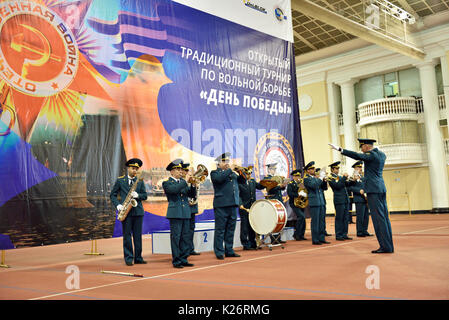 St. Petersburg, Russia - May 6, 2015: Military orchestra plays on the opening ceremony of International freestyle - Stock Photo