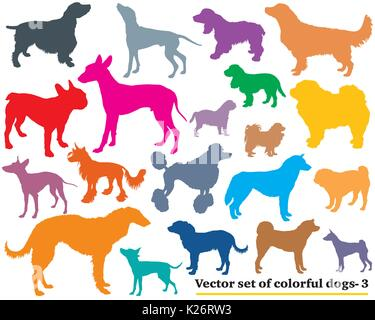 Vector set of colorful isolated different breeds dogs silhouettes on white background. Part 3 - Stock Photo