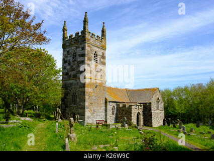 St Wynwallow's Church in Landewednack, Lizard, Lizard Peninsula, Cornwall, England, United Kingdom - Stock Photo