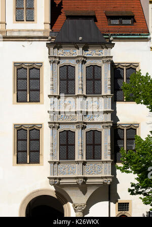 Oriel in castle courtyard, Hartenfels Castle, Torgau, Lutherweg, Saxony, Germany - Stock Photo