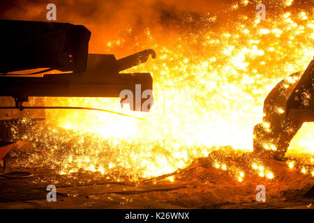 Tapping at furnace 8, ThyssenKrupp ironworks, Duisburg, Ruhr area, North Rhine-Westphalia, Germany - Stock Photo
