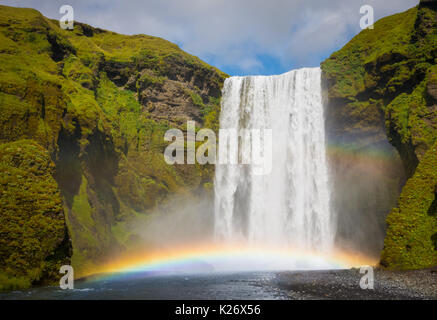 Skogafoss waterfall in the Southern Region of Iceland - Stock Photo