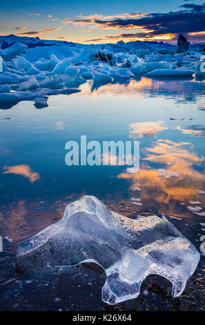 Jökulsárlón is a large glacial lake in southeast Iceland, on the edge of Vatnajökull National Park. Situated at - Stock Photo