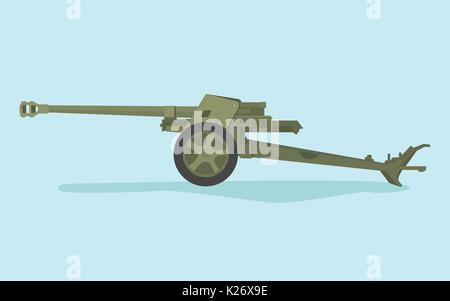 german anti tank ww2 with flat style and green color - Stock Photo