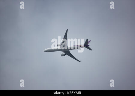 CHIANG MAI, THAILAND - AUGUST 27  2017:  Boeing 777-300 HS-TKO TG103 of Thai airway. Take off from Chiangmai airport - Stock Photo