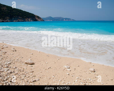 Kefalonia island, Greece. Beautiful view of Mirtos bay and beach on Kefalonia island - Stock Photo
