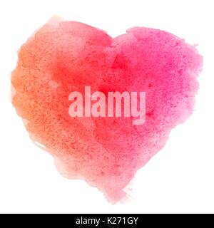 Watercolor pink red hand drawn paper texture isolated heart shaped stain on white background for valentines day. - Stock Photo