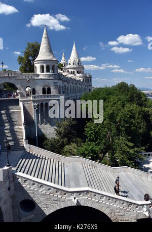 Fisherman's Bastion is a terrace in neo-Gothic and neo-Romanesque style situated on the Buda bank of the Danube - Stock Photo
