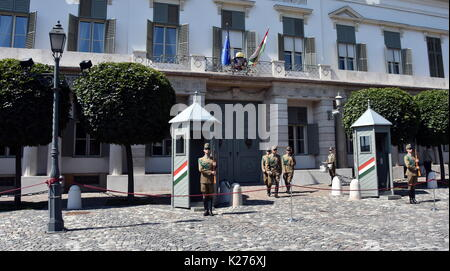 Budapest, Hungary - Jul 17, 2017. Changing of the Guards by the Hungarian Presidential Palace in the Buda Castle - Stock Photo
