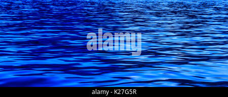 Blue hour Light reflection on river wave ripples surface. Abstract, tranquility, romance. - Stock Photo