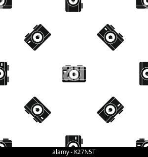 Photo camera pattern seamless black - Stock Photo