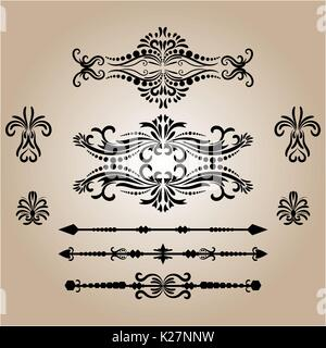 Vintage Decorations Elements. Flourishes Calligraphic Ornaments and Frames. retro Style Design Collection - Stock Photo