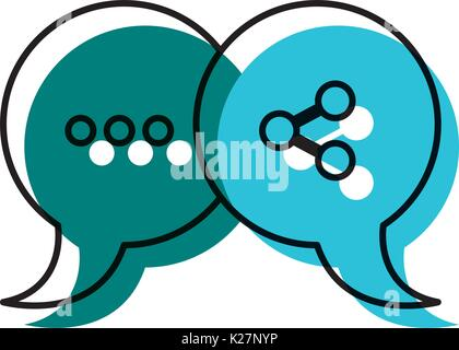 watercolor silhouette of pair speech bubbles with symbols of ellipsis and network - Stock Photo