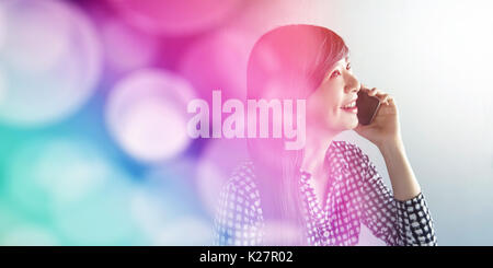 Happy Smiley face Woman talking via Smart Phone Concept, Communication Technology on daily life to make people happy, - Stock Photo
