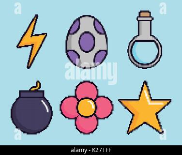 related icons of retro video games over blue background colorful design vector illustration - Stock Photo
